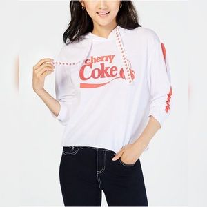 Love Tribe Cherry Coke Raw Hem Drawstring Hoodie